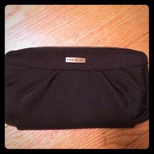 Black nylon travel wallet with RFID blocker